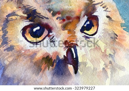 Eurasian Eagle Owl. Watercolor. - stock photo