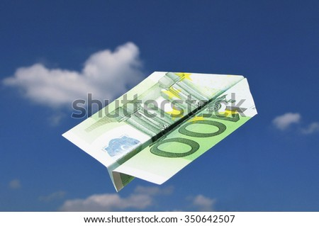 EURO airplane in the sky - stock photo