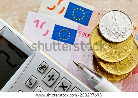 Euro and Czech crown money - exchange rate - economy and finance in international business - import and export - stock photo