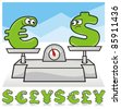 Euro and Dollar cartoon symbols on scale. Additional Pound and Yen symbols with happy and sad faces. - stock photo