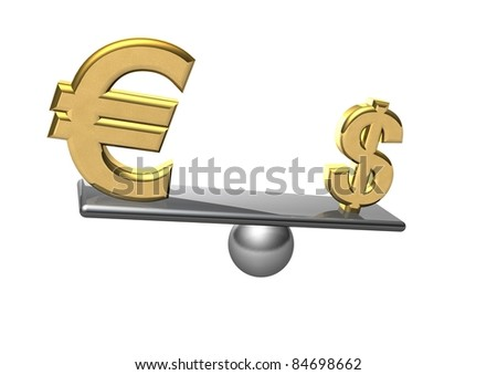 euro and dollar on scale board, over white background. - stock photo