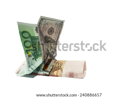 Euro and dollar riding on russian currency ruble - stock photo