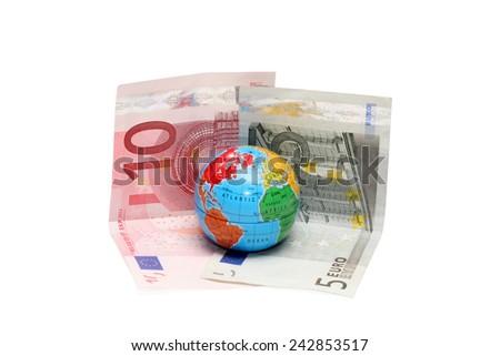 Euro and globe - stock photo