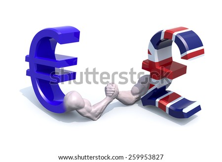 euro and sterling symbol currency make arm wrestling, 3d illustration - stock photo