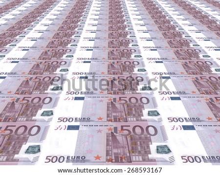 Euro background. Five hundred euros. 3D illustration. - stock photo