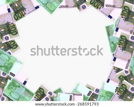 Euro background. One hundred euros. 3D illustration. - stock photo