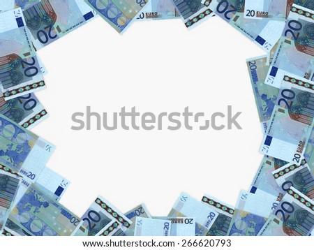 Euro background. Twenty euros. 3D illustration. - stock photo