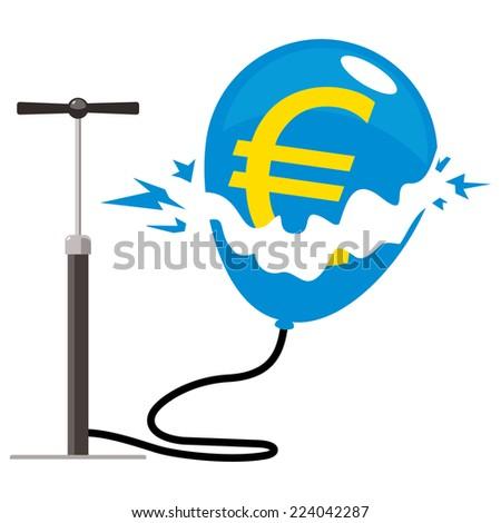 euro balloon burst with pump - stock photo