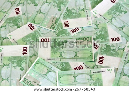 Euro bank notes scattered background - stock photo