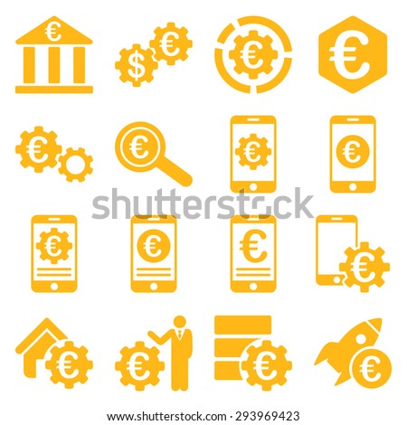 Euro banking business and service tools icons. These flat icons use yellow color. Images are isolated on a white background. Angles are rounded. - stock photo