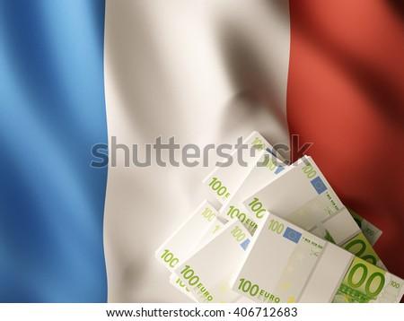 Euro banknote bundles on textile textured French flag. 3d illustration. - stock photo
