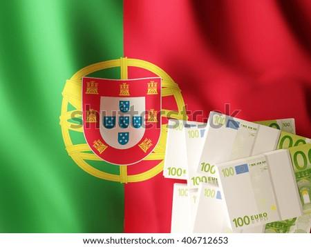 Euro banknote bundles on textile textured Portuguese flag. 3d illustration. - stock photo