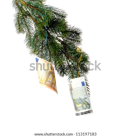 euro banknote hanging on christmas tree branch on white background close-u - stock photo