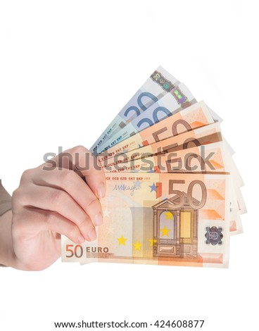 euro banknote in female hand closeup isolated - stock photo