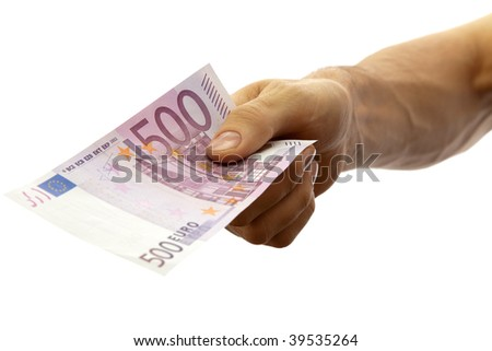 Euro banknote in the men's hand. Isolated on white. - stock photo