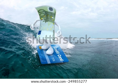 euro banknote with arms and legs surfing with credit card surfboard, 3d illustration - stock photo
