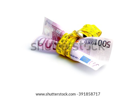 euro banknote with measure tape on white background - stock photo