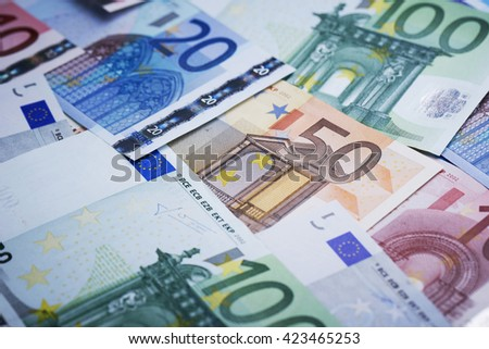 Euro banknotes - stock photo