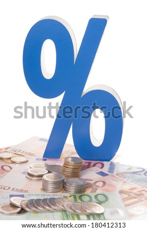 Euro banknotes and euro coins with percent sign / Euro money - stock photo