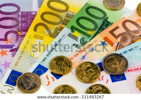 euro banknotes are adjacent. symbolic photo for profits, revenue and cash - stock photo