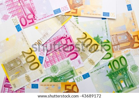 Euro banknotes background - stock photo