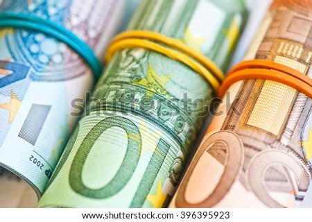 euro banknotes, close up - stock photo