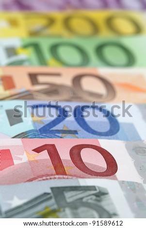 Euro banknotes, close-up - stock photo