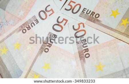 Euro banknotes - closeup shot - stock photo