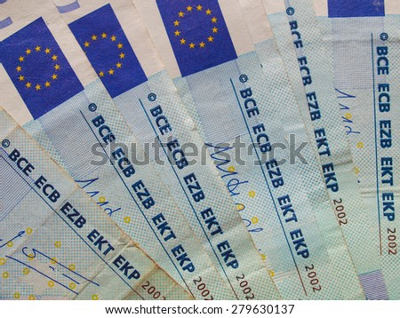 Euro banknotes (EUR) - currency of the European Union - stock photo