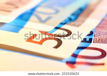 Euro banknotes, macro view - stock photo