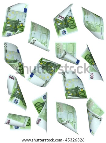 euro banknotes. money fall isolated on white - stock photo