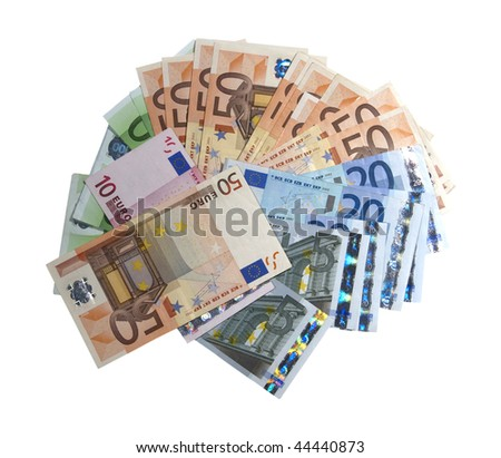 Euro banknotes on a white background scattered shaped - stock photo
