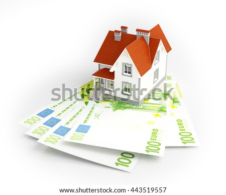 Euro banknotes under house. 3d rendering. - stock photo