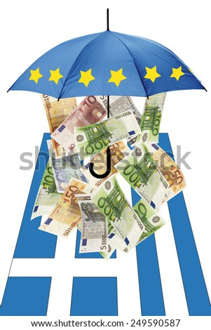 Euro banknotes under umbrella with greek flag - stock photo