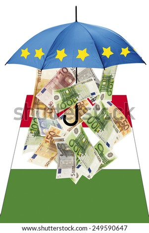 Euro banknotes under umbrella with italian flag - stock photo