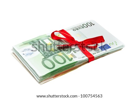 Euro Banknotes with Ribbon isolated in white - stock photo