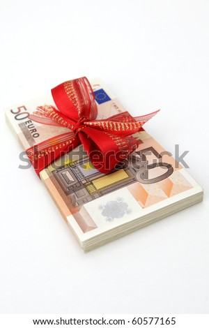 Euro Banknotes with Ribbon on white background - stock photo