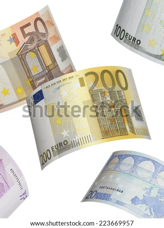 Euro bill collage isolated on white. Vertical format - stock photo