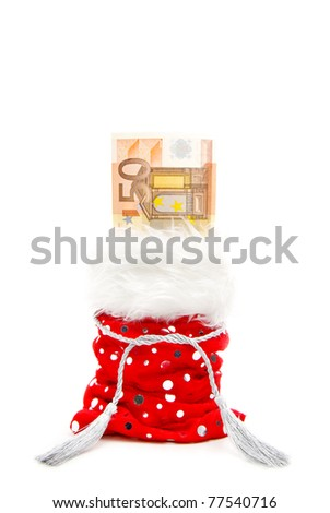 euro bill in a red present-bag isolated on a white background - stock photo