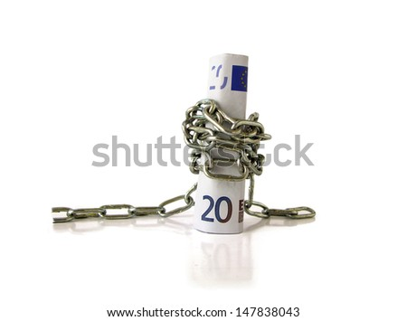euro bill on chained isolated on white concept of economic crisis  - stock photo