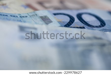 Euro billets, total of 75 euro - stock photo