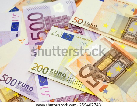 Euro bills background - stock photo