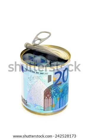 Euro bills canned 1 -  Euro notes preserved in a can on white background. - stock photo