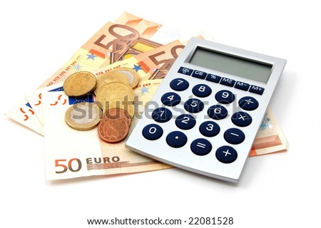 euro bills isolated on a white background - stock photo