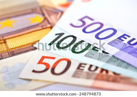 euro bills of the european union, close up - stock photo