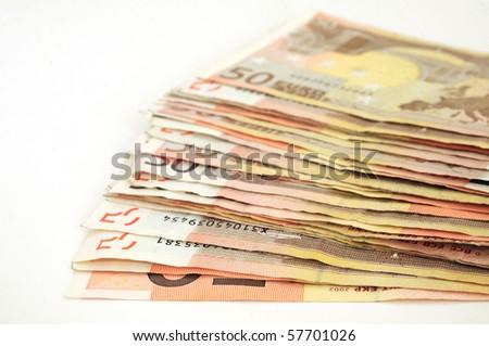 euro bills on white background - stock photo