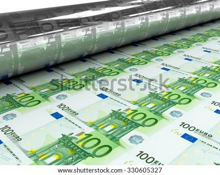 Euro bills stamp mashine - stock photo