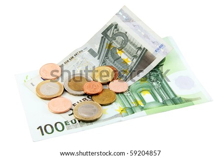Euro bils with coins  isolated on white; including clipping path - stock photo