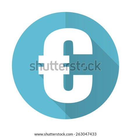 euro blue flat icon   - stock photo
