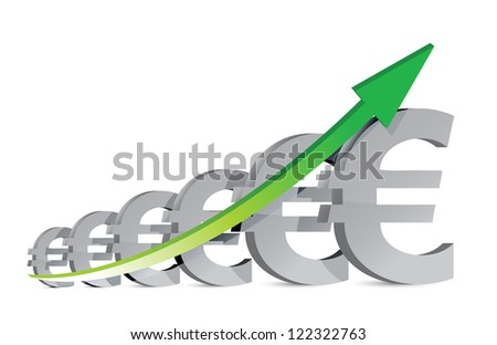 euro Business Graph illustration design over a white background - stock photo